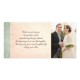 Vintage Wedding Thank You Card Photo Card Template