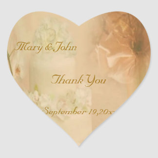 Vintage Wedding Thank You Heart Sticker