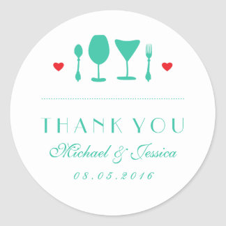 Vintage Wedding Thank You Sticker Fork and Spoon