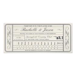 Vintage Wedding Ticket  II  Punchout Golden 4x9.25 Paper Invitation Card
