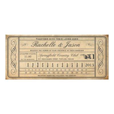 Vintage Ticket Punchout Custom Wedding Announcement