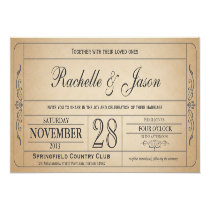 """Vintage Wedding Ticket  Invitation 4"""" X 9.25"""" Invitation Card"""