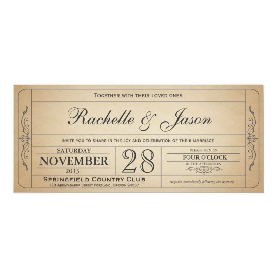 Vintage Wedding Ticket Invitation  Zazzle