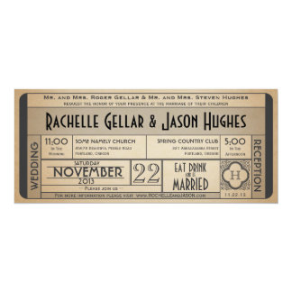 Vintage Wedding Ticket Invitation IV -- 40s era