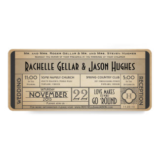 Vintage Wedding Ticket Invitation IV -- 40s era II