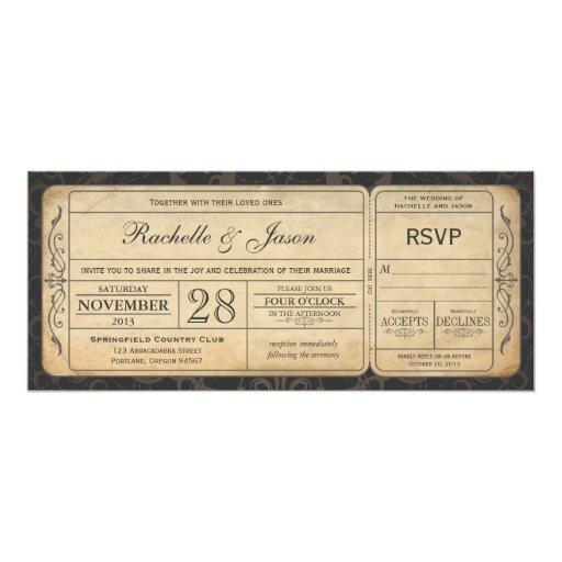 Vintage Wedding Ticket Invitation with...