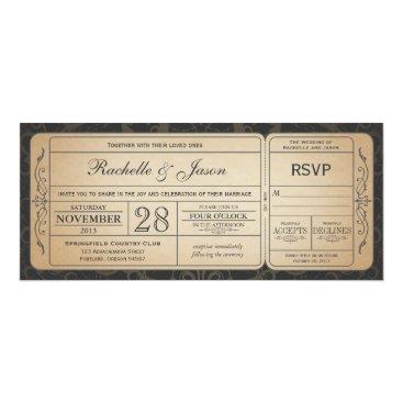 Trifecta_Designs Vintage Wedding Ticket  Invitation with RSVP 3.0