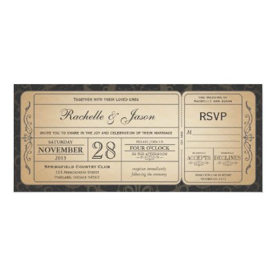 wedding vintage ticket invitation with rsvp design zazzle com