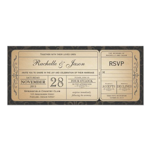 Vintage Wedding Ticket Invitation With RSVP 30