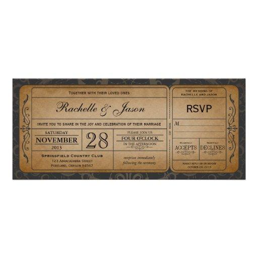Vintage Train Ticket Template Vintage wedding ticket