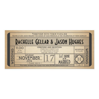 Vintage Wedding Ticket IV- 40's era 2.0 Card