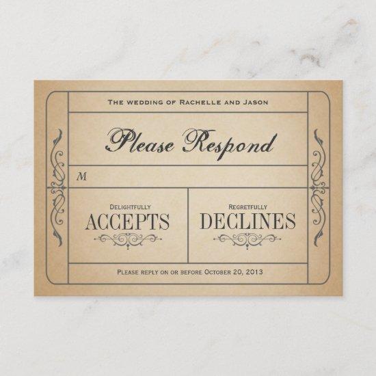 Vintage Wedding Ticket  RSVP