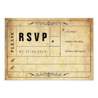 Vintage Wedding Ticket RSVP Card