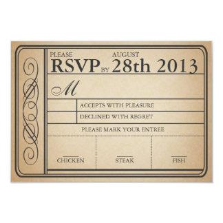 Vintage Wedding Ticket RSVP  II  Punchout Card