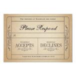 Vintage Wedding Ticket  RSVP 3.5x5 Paper Invitation Card