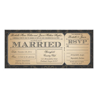 Vintage Wedding Ticket with RSVP collection III Personalized Invitation