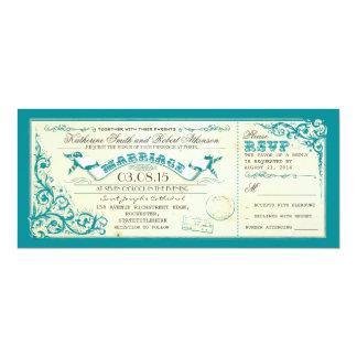 vintage wedding tickets & blue elegant flourishes 4x9.25 paper invitation card