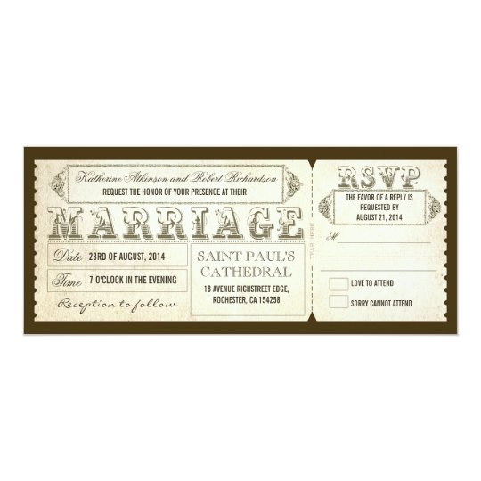 vintage wedding tickets rsvp invitation zazzle com