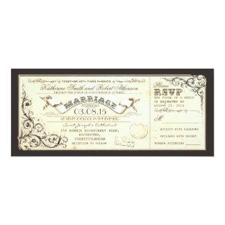 vintage wedding tickets with elegant flourishes invitation