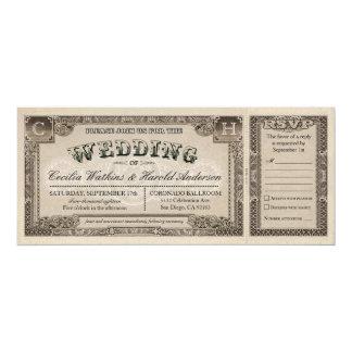 Vintage Wedding Tickets with RSVP Cards v.1