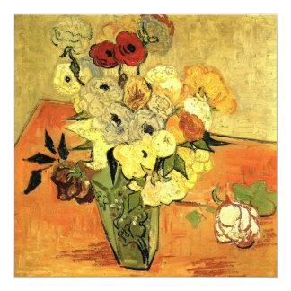 "Vintage Wedding, Van Gogh Japanese Vase w Roses 5.25"" Square Invitation Card"