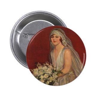 Vintage Wedding, Victorian Bride Bridal Portrait Button