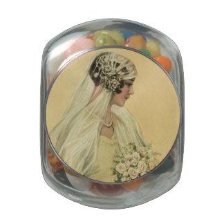 Vintage Wedding, Victorian Bride Bridal Portrait Glass Candy Jars
