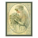 Vintage Wedding, Victorian Bride Bridal Portrait Personalized Announcement