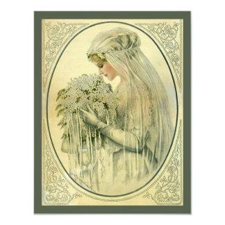 """Vintage Wedding, Victorian Bride Bridal Portrait 4.25"""" X 5.5"""" Invitation Card"""