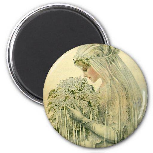 Vintage Wedding, Victorian Bride Bridal Portrait 2 Inch Round Magnet
