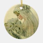 Vintage Wedding, Victorian Bride Bridal Portrait Christmas Tree Ornament