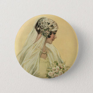 Vintage Wedding, Victorian Bride Bridal Portrait Pinback Button