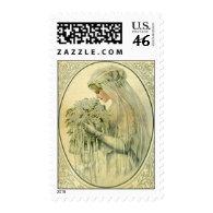 Vintage Wedding, Victorian Bride Bridal Portrait Postage Stamps
