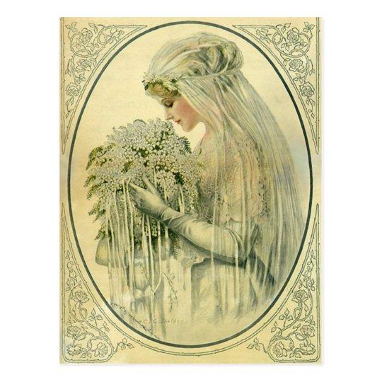 Vintage Wedding, Victorian Bride Bridal Portrait Postcard