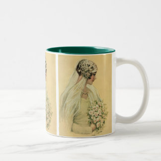 Vintage Wedding, Victorian Bride Bridal Portrait Two-Tone Coffee Mug
