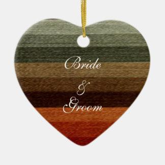 Vintage Wedding, Warm Autumn Stripes Pattern Ceramic Ornament