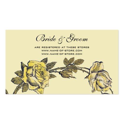 Vintage Wedding, Yellow Antique Garden Rose Wreath Business Card Templates