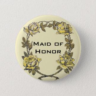 Vintage Wedding, Yellow Antique Garden Rose Wreath Button
