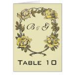 Vintage Wedding, Yellow Antique Garden Rose Wreath Stationery Note Card
