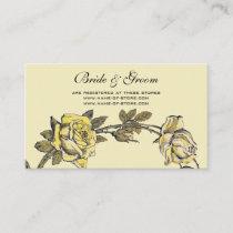Vintage Wedding, Yellow Antique Garden Rose Wreath Enclosure Card