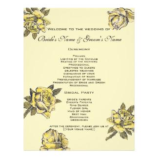 Vintage Wedding, Yellow Antique Garden Rose Wreath Flyer