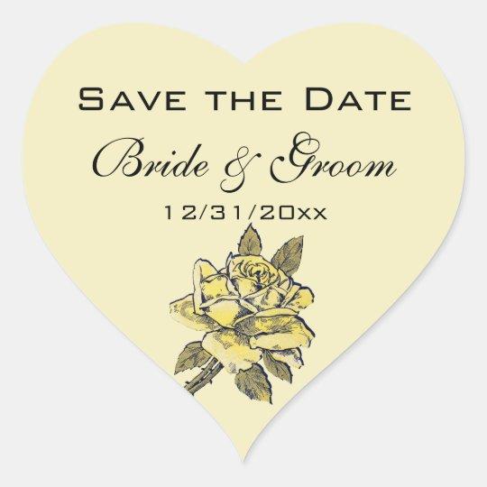 Vintage Wedding, Yellow Antique Garden Rose Wreath Heart Sticker