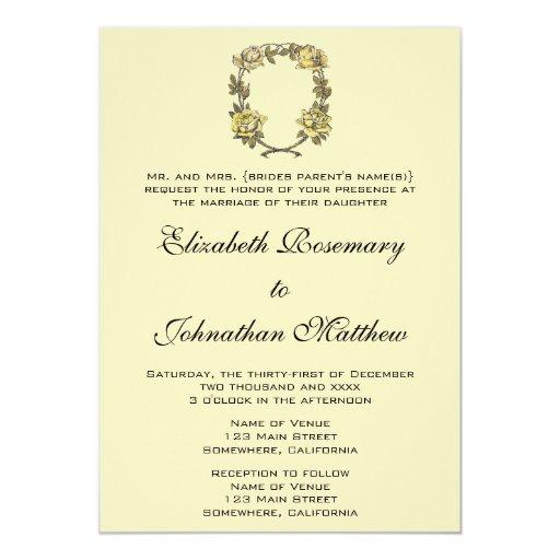 Vintage Wedding, Yellow Antique Garden Rose Wreath 5x7 Paper Invitation Card