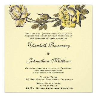 Vintage Wedding, Yellow Antique Garden Rose Wreath Personalized Invites