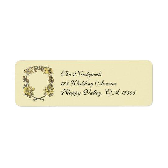 Vintage Wedding, Yellow Antique Garden Rose Wreath Label