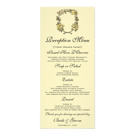 Vintage Wedding, Yellow Antique Garden Rose Wreath Rack Card
