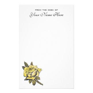 Vintage Wedding Yellow Antique Garden Rose Wreath Stationery Paper