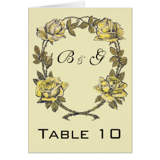 Vintage Wedding, Yellow Antique Garden Rose Wreath Stationery Note Card