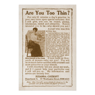 Vintage Weight Gain Ad from 1908 Poster