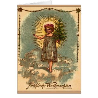 """Vintage Weihnachtskarte """"Engel mit Weihnachtsbaum"""" Greeting Card"""